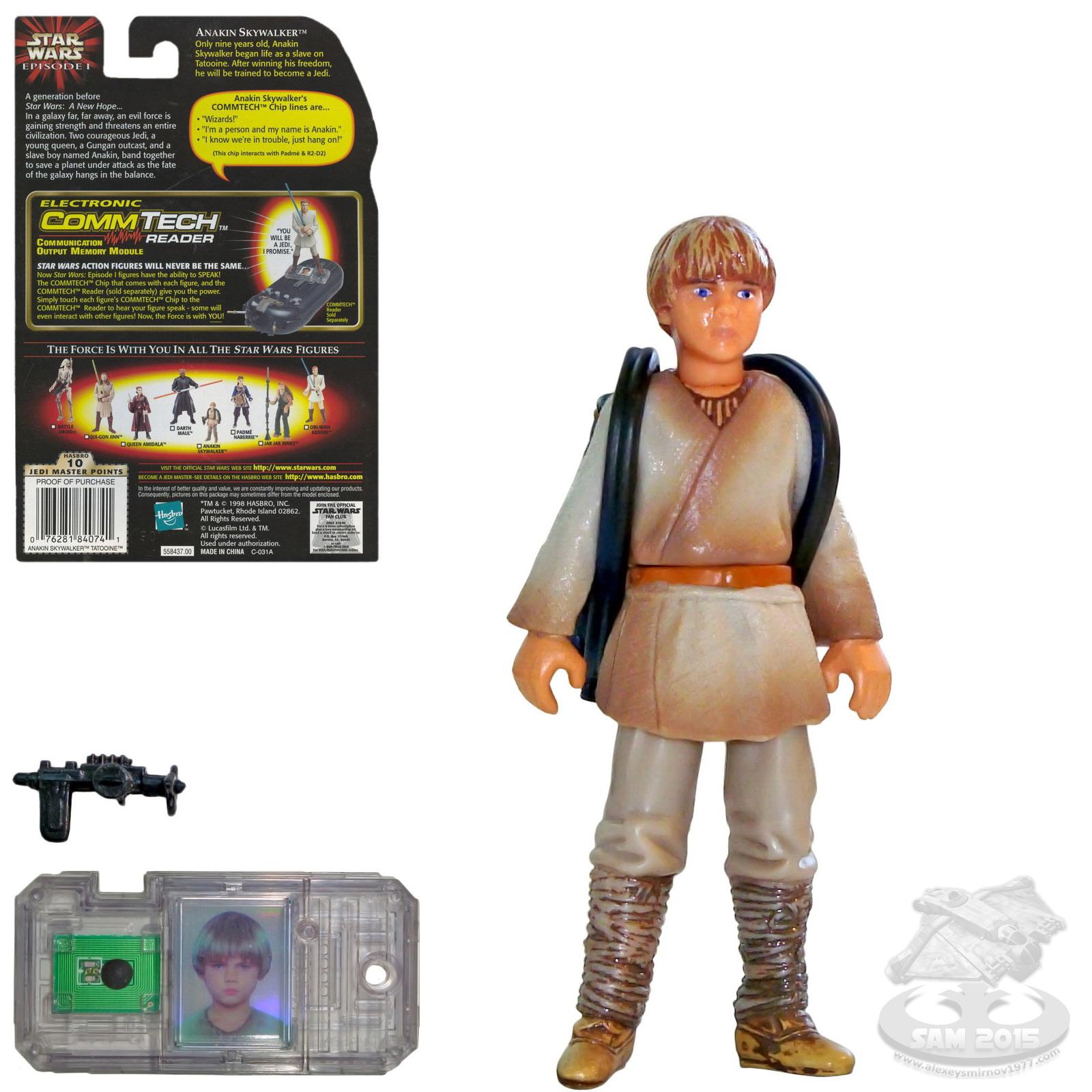 STAR WARS EPISODIO 1 Anakin Skywalker Pilota NABOO Figura commtech Chip in massa