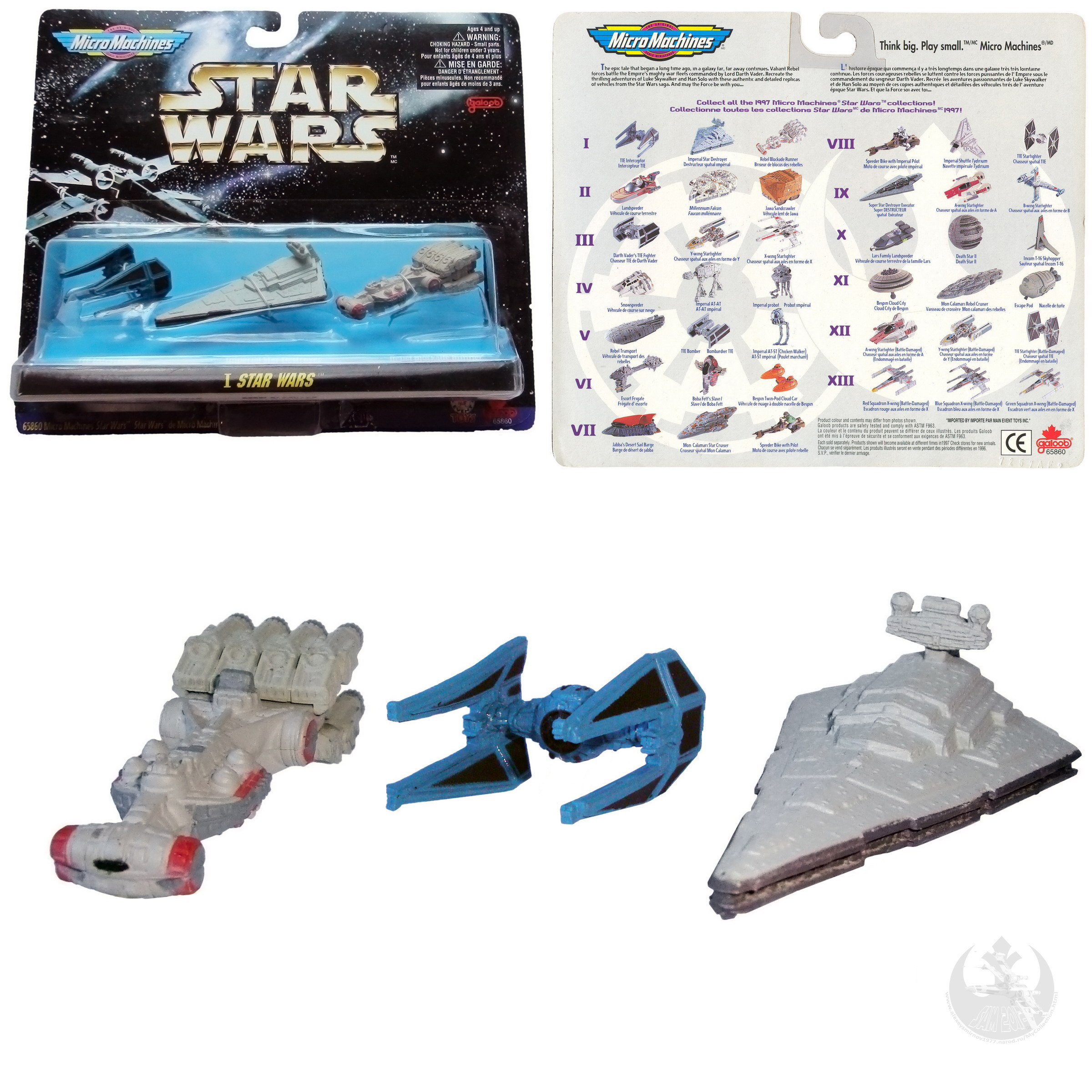 Star Wars 1997 Micro Machines XIII X-WING Red Blue /& Green Squadrons Battle